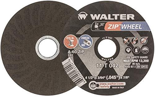 Walter Oberfläche Technologien Reißverschluss Rad High Performance Cutoff Rad Typ 1rund Loch Aluminium-Oxid 41/2Durchmesser 3/64Dick 7/8Arbor Körnung a 60Zip 25Stück