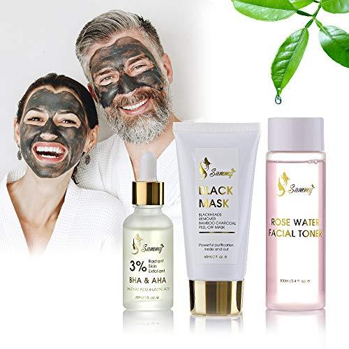 Sammy black removedor set de envoltura de regalo, 1x 3% BHA y AHA Radiant Skin Exfoliant, 1x máscara negra, 1x agua de rosas