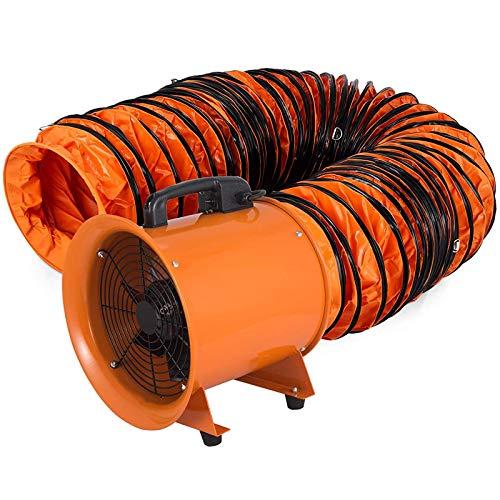 VEVOR Extractor Ventilador Industrial Portátil Ventilador Profesional para Construcción Ventilador de Piso Industrial Ventilador Industrial 520W 12 Pulgadas 300 mm Portátil Conducto de PVC Tubo 10 m