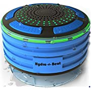 Shower Radios - Hydro-Beat Illumination. IPX7 portable fully Waterproof Bluetooth Speaker with built in FM Radio and LED mood lights. Rechargeable using micro USB. (Blue and Black)