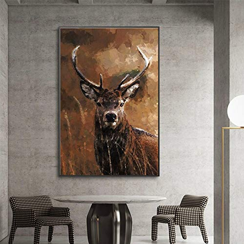 wZUN Posters and Prints Canvas Painting Deer Murals Living Room Decoration Painting Home Decoration Oil Painting 60x90 Frameless