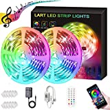 50FT LED Strip Lights, LART RGB Light Strip Bluetooth Control Music Sync Color Changing LED Strip Lights Kits, Smart LED Lights for Bedroom Home Party Decoration(APP+Remote+3 Button Control)