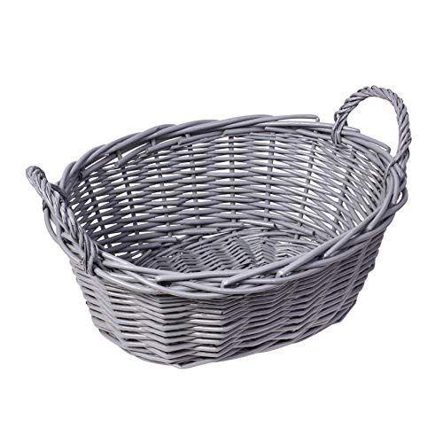woodluv Hand Made Oval Storage Hamper Wicker Basket With Handles-Grey 33 x 13 x 13 CM