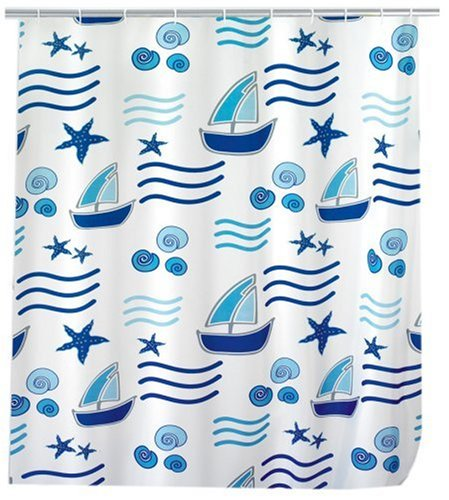 WENKO 19170100 Duschvorhang Boating - Anti-Bakteriell, waschbar, mit 12 Duschvorhangringen, Kunststoff - Polyester, Weiß