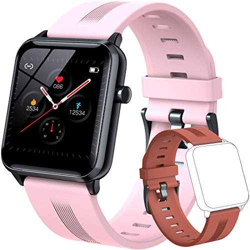 Smart Watch with Double Color Band, DIGEEHOT Smart Watch for Android Phones and iPhone Compatible, Fitness Tracker Watch with Heart Rate, Sleep Monitor, Music, Connect the Phone GPS, IP68 Waterproof Health Smart Watches for Women, Kids, Teens (Pink & Orange)