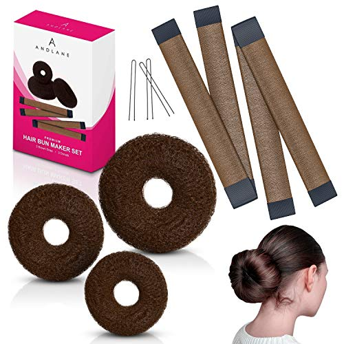 Hair Bun Maker French Twist Hair Fold Wrap Snap and Donut by Andlane (2 Brown Snap, 3 Brown Donuts)