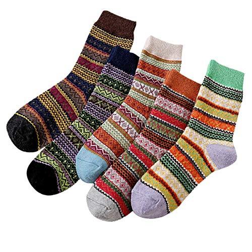 5 Paar Damenmode Retro bedruckte Baumwolle Patchwork Socken Strümpfe, Damen Socken mehrfarbig mit Streifen, Punkte und Weihnachts-Motiven, Süße Baumwoll Damensocken in verschiedenen Mustern (3#)