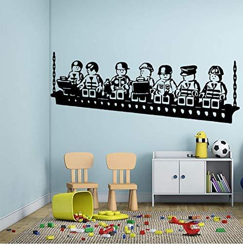 Wandaufkleber Vinyl Kunst Wandtattoos Cartoon Lego Spiel Kinder Spielzimmer Dekoration Jungen Mädchen Auto Zug Poster Wandbild Niedliches Dekor 57 * 152Cm