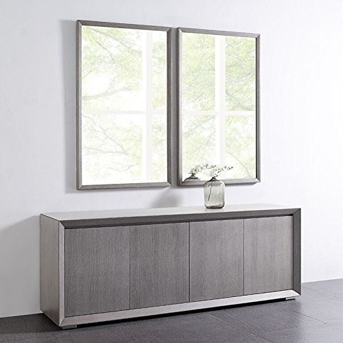 Whiteline Modern Living Contemporary Modern Occasional Skylar Wall, Accent, Dresser Mirror, Gray
