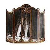 Pantalla Protectora chimeneas Gran pantalla Oro Chimenea 3 Panel adornado forjado Hierro Metal...