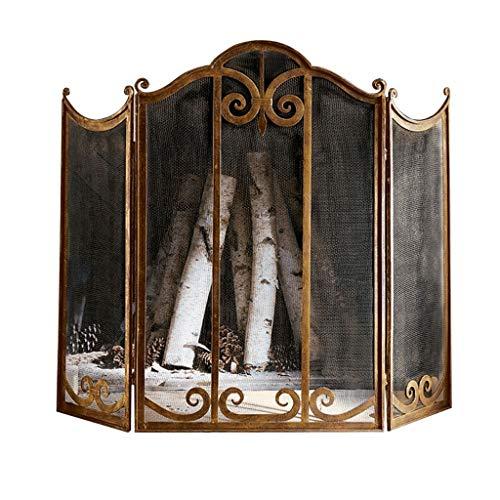 Salvachispas plegable Gran pantalla Oro Chimenea 3 Panel adornado forjado Hierro Metal Chimenea Permanente Gate acoplamiento decorativo de acero sólido de chispa protector de la cubierta exterior Herr