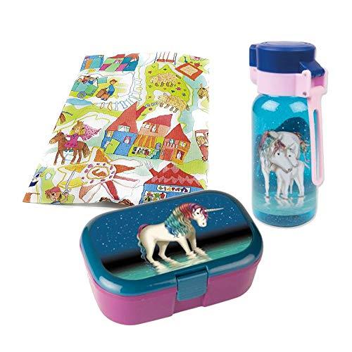 Lutz Mauder Brotdose und Trinkflasche Einhorn lila 400ml Geschenkset für Kindergartenkinder Schulkinder Geschenkverpackung