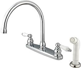 Kingston Brass KB721 Victorian Gooseneck Kitchen Faucet with OAK and Porcelain Handle,..