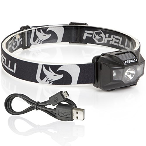 Foxelli USB Rechargeable Headlamp Flashlight - 180 Lumen, up...