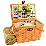 Picnic at Ascot Frisco Traditional American Style Picnic Basket With Blanket, Trellis Green