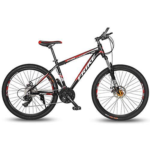 LXZH Bicicleta de Montana de Aluminio, 26 Pulgadas Bici 21 Velocidades, la absorción de Choque de la Bicicleta de Doble Freno de Disco Hombres Mujeres,Rojo