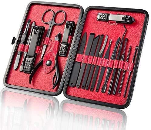 Fixget 16 Pcs Manicure Set, Nail Clippers Set Pedicure Kit Professionale in Acciaio Inox Forbici per Unghie di Viaggio e Toelettatura Kit Manicure Set