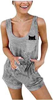 Allywit Women Fashion Boho Casual Cute Cat with Pocket Sleeveless Ladies O-Neck Short Jumpsuits Playsuit