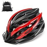 KING BIKE - Casco de ciclismo + mochila para casco portátil, visera desmontable, luz LED trasera de seguridad, certificación CE (M/L; L/XL), Unisex adulto, color Negro y rojo, tamaño XL:59-63CM
