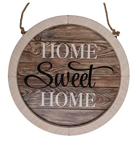 ootb Letrero de Madera Natural, Sweet Home,con cordón de Yute, Aprox. 32 cm