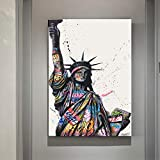 wZUN Street Graffiti Estatua de la Libertad Arte Lienzo Pintura Arte Pared Carteles e Impresiones inspiración Arte Imagen Sala de Estar decoración 60x80 Sin Marco