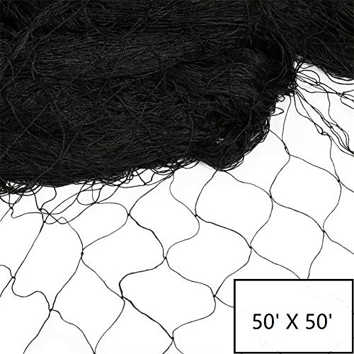 "Vosfast 50' X 50' Bird Netting for Bird Poultry Aviary Game Pens New 2.4"" Square Mesh Size to Protect Fruit Trees Plants,Suitable for Gardens, Farms, Orchards, etc."