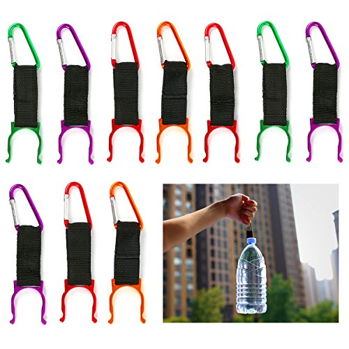 Water Bottle Clip Buckle Holder, 10 PCS Portable Colorful Bottle Carabiner Holder Hook with D-Ring Hook for Camping Hiking Traveling with Emergency Aluminum Whistle by DomeStar