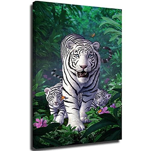 SSKJTC Cuadro de animales salvajes de tigre blanco y cachorro en la selva lienzo para decoración del hogar, carteles listos para colgar para colgar para la habitación de los niños, 50 x 75 cm