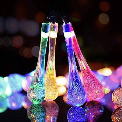 Solar Lichterketten, 8 Modi 50 LED Wassertropfen Solar Fairy Wasserdichte Kupferdrahtleuchten, dekorative Außenleuchte für Gartenhaus Hochzeitsfeier Weihnachten Halloween (Mehrfarbig)