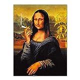 ZXYFBH Cuadros Decoracion Salon Spoof dadaísmo Arte de la Pared Fumar Mona Lisa Lienzo póster Impresiones Pintura clásica Sala de Estudio decoración Pasillo imágenes 45X60cmNoFrame HA047