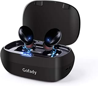 Gofady Mini Wireless Bluetooth 5.0 HD Stereo Sound Sports Earbuds with Portable Magnetic Charging Case, Black