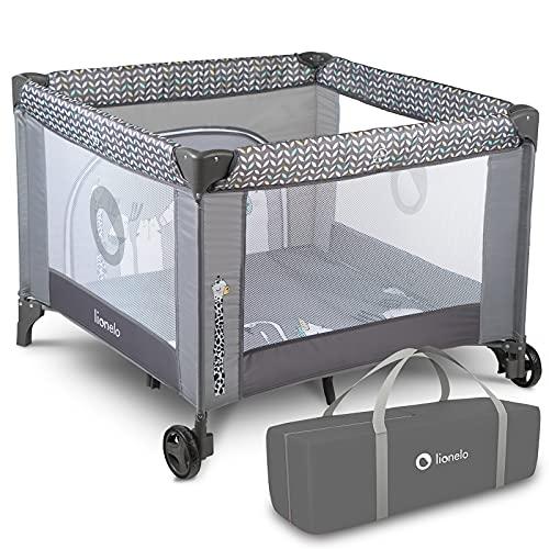 Lionelo Fie parc pour bébé parc pour bébé lit de voyage lit bébé de la naissance jusqu'à 15 kg Système de verrouillage latéral et blocage des roues nacelle pliante (Gris)