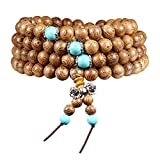 108 Beads Bracelet Tibetan Buddhist Buddha Meditation Natural Wood Mala Prayer Bead Necklace