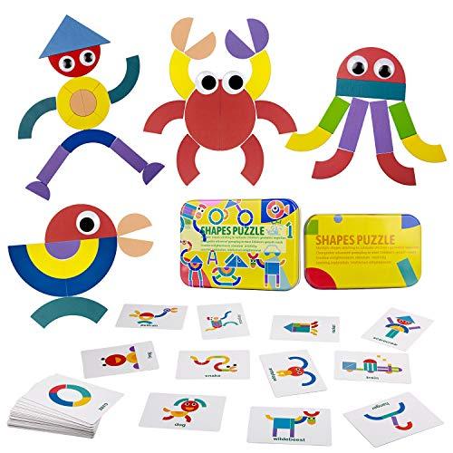 ZWOOS Tangram Madera Formas y Colores Puzzles de Madera 36 Montessori Puzzle de Madera + 50 PCS Diseño Tarjetas de Apilamientos Juegos y Juguetes Educativos Clasificación de la Infancia