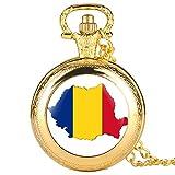 Reloj de bolsillo de cuarzo dorado vintage para hombre, creativo diseño de mapa de Rumanía para mujer, correa de reloj de bolsillo de aleación duradera para hombre