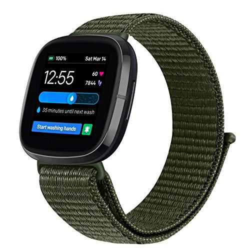 Vodtian Correa ajustable de nailon, compatible con Fitbit Versa 3 / Fitbit Sense, correa de repuesto deportiva para hombre y mujer (verde militar)