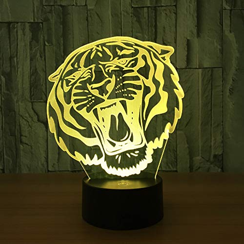 Lámpara de ilusión Visual 3D Tigre Acrílico Transparente Luz Noctur