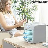 InnovaGoods Climatizador Evaporativo Portátil con LED FreezyQ+ -Mini Acondicionado, Purificador de Aire, Gris