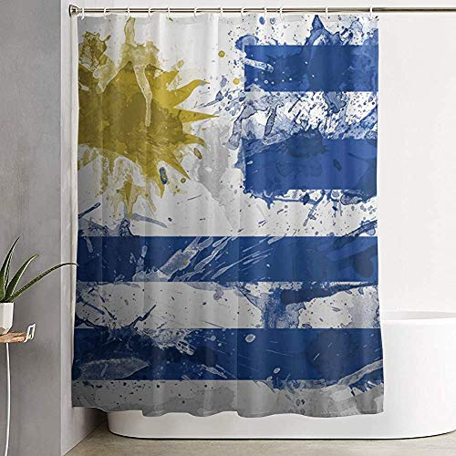 Cortina de Ducha para Cortina de baño Decorativa Bandera de Uruguay Pintura Cortina de baño con Ganchos Cortina de bañera Impermeable 152X183CM