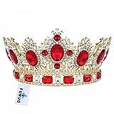 FUMUD Big Retro Red Crystal Rhinestone Gold Wedding Bridal Hair Accessories Tiara Crown Queen Crown Pageant Prom Headband 3.9'' (Red)