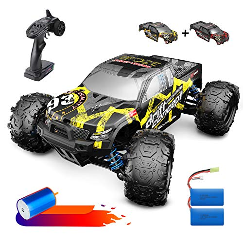 DEERC Brushless RC Cars 300E 60KM/H High Speed Remote Control Car 4WD 1:18 Scale Monster Truck for Kids Adults, All Terrain Off Road Truck with Extra Shell 2 Battery,40+ Min Play Car Gifts for Boys