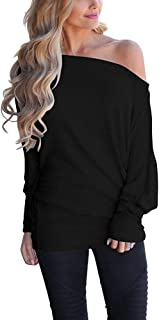 Off Shoulder Tops for Women Casual Pullover Sweater Tops Batwing Long Sleeve Sweatshirts Casual T Shirt