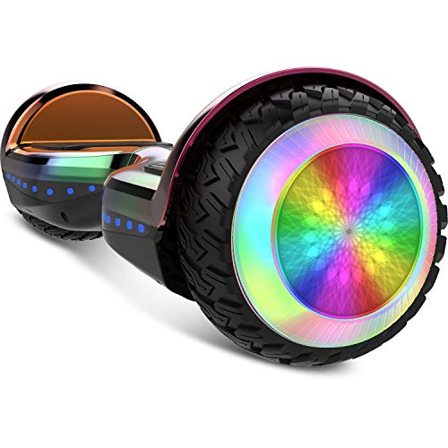 Gyrocopters PRO 6.0 All-Terrain Hoverboard - UL 2272 Certified with Bluetooth, LED Wheels, APP, No Fall Technology, Front and Back Lights, Free Hoverboard Bag (Chrome Rainbow)
