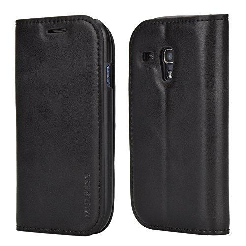 Mulbess Funda Samsung Galaxy S3 Mini [Libro Caso Cubierta] Slim de Billetera Cuero de la PU Carcasa para Samsung Galaxy S3 Mini Case, Negro