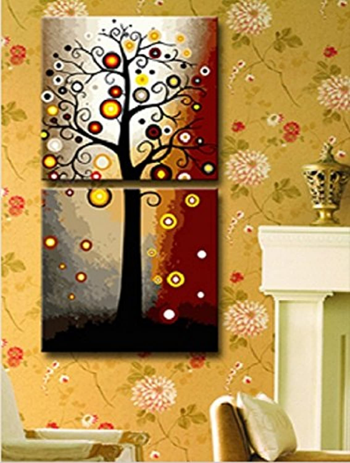 PaintingStudio Lucky tree DIY oil Painting by number kit Picture printed on canvas Frameless 20x40 inch (50x100cm)