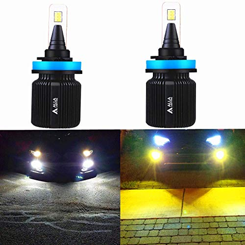 ALLA Lighting H8 H9 H11 LED Switchback Fog Lights Super Bright 8000Lm H11 Switchback Fog/Headlights Bulbs Replacement, 6000K White / 3000K Amber Yellow