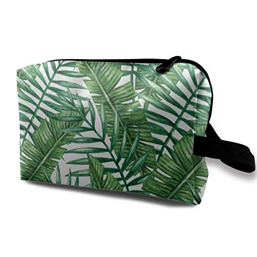 zjipeung Banana Leaf Green Cosmetic Bag Makeup Bags For Women,Travel Makeup Bags Roomy Toiletry Bag Accessories Organizer with Zipper