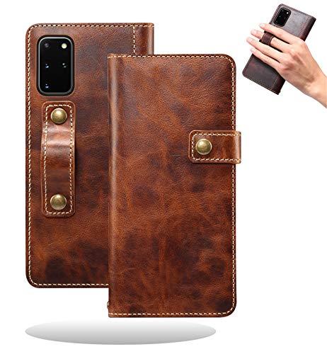 Yidai-Silu Galaxy Note 20 Ultra Echt Leder Tasche, 【DK Knopf, Multi-Funktion Magnet, Fingerhalter】 Handy Hülle Wallet Hülle Geldbeutel Brieftasche für Samsung Galaxy Note 20 Ultra 6,9 Zoll - BraunundB