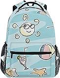 Mochila escolar escolar escolar mochila de viaje bolsa al aire libre playa tema Doodle Set