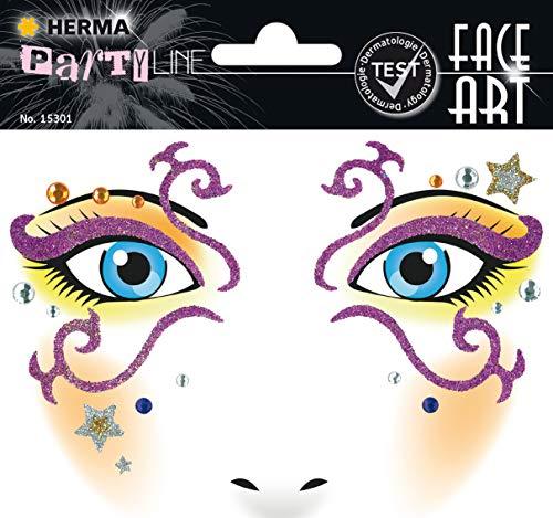 HERMA 15301 Face Art Sticker Mystery Gesicht Aufkleber Glitzer Sticker für Fasching, Karneval, Halloween, dermatologisch getestet